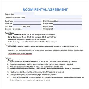 room rental agreement doc room rental agreement to download