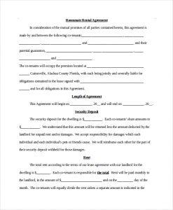 room rental agreement pdf roommate rental agreement