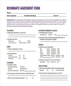 roommate agreement form roommate agreement form example