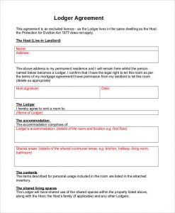 roommate contract template lodger agreement template