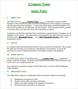 safety plan template construction safety policy plan template