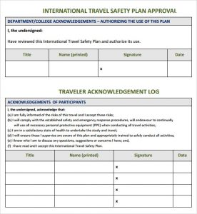 safety plan template travel safety plan template