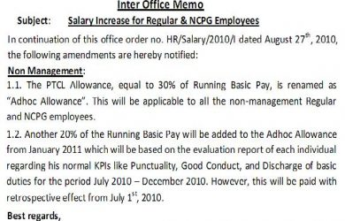 salary negotiation letter sample revised notification of pay increase of non management workers dated