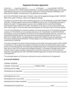 sale contract template equipment purchase agreement