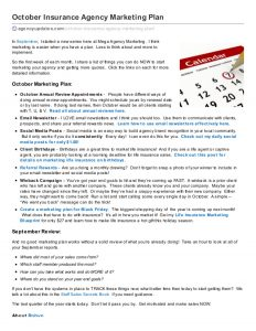 sales agreement template october insurance agency marketing plan