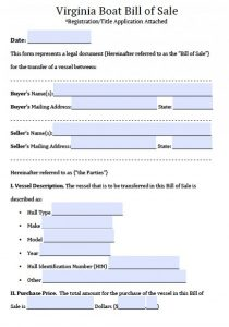 sales agreement template virginia boat bill of sale x