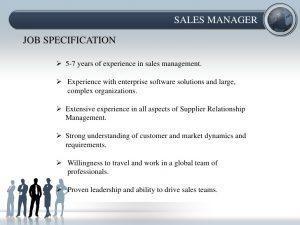 sales goals examples job description and job specification