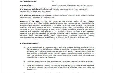 sales job description accommodation sales manager job description