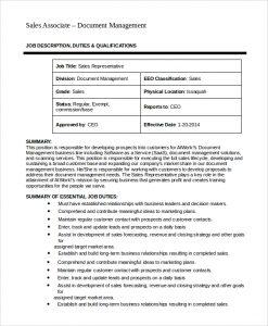 sales job description sales associate job description example