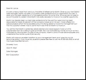 sales letters sample manager reference letter