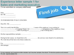 sales letters sample sales and marketing executive experience letter