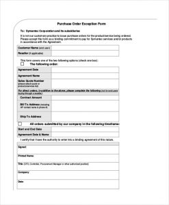 sales order forms purchase order confirmation form