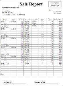 salesman report template sale report template
