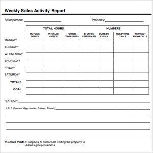 salesman report template sales report template