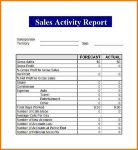 salesman report template sales report template sales activity report template