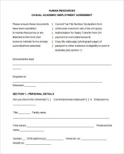 sample application for employment casual academic employment agreement