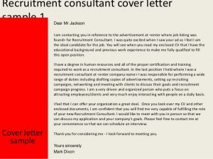 sample application for employment recruitment consultant cover letter