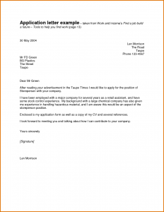 sample application for employment simple written application letter