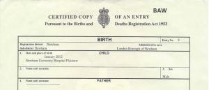 sample birth certificate birth certificate sample
