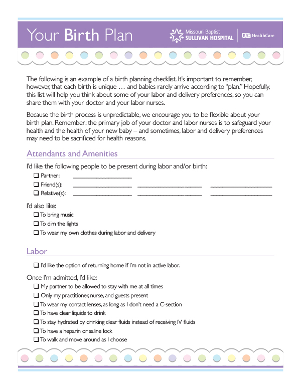 sample birth plans