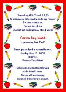 sample birthday invites graduation kindergarten graduation invitation template sample with red border x