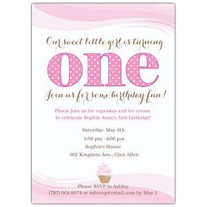 sample birthday invites little cupcake pink first birthday invitations p ccp z