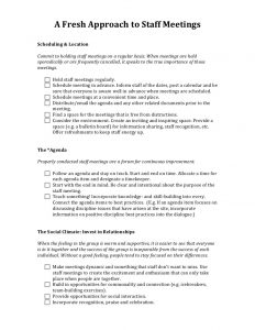 sample board meeting minutes a fresh approach to staff meetings handout