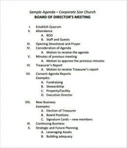 sample board meeting minutes easy corporate board meeting agenda template free download