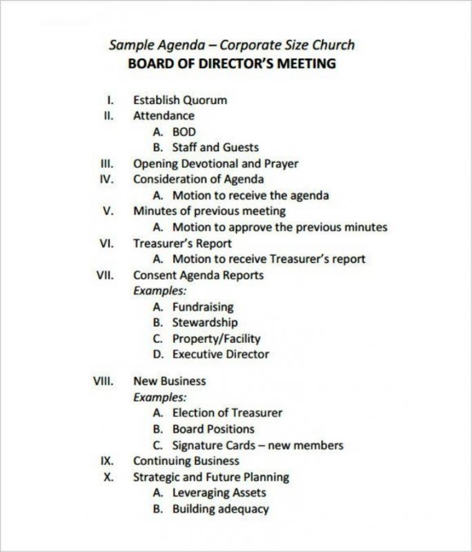 sample board meeting minutes