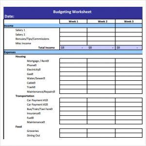 sample budget sheet budget worksheet template