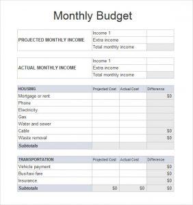 sample budget sheet monthly budget spreadsheet template