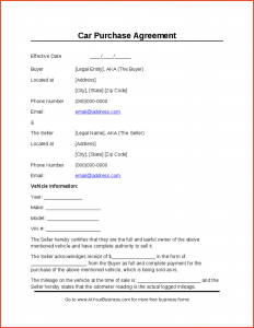 sample car bill of sale buyers agreement form auto purchase agreement