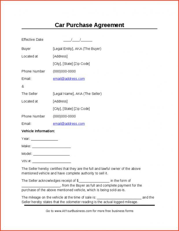 sample car bill of sale