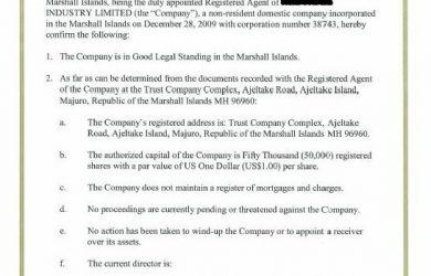 sample car bill of sale certificate of incumbency