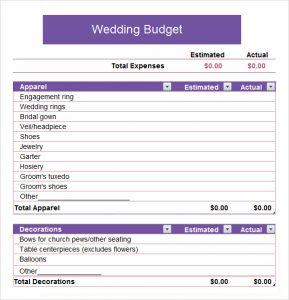 sample church budget wedding budget spreadsheet template