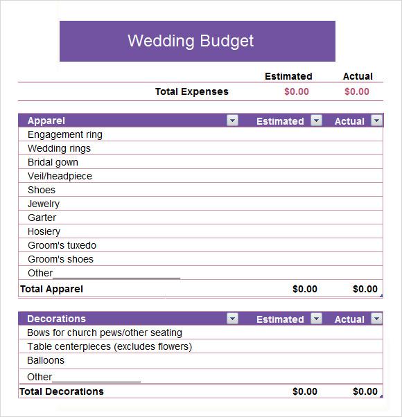 sample church budget