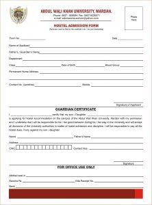 sample college application admission form format hostel admn form