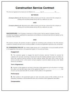 sample construction contract construction contract