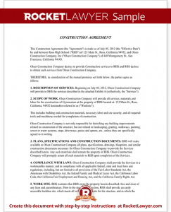 sample construction contract sample construction agreement form template