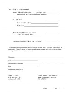 sample consultation agreement contract agreement for wedding photography