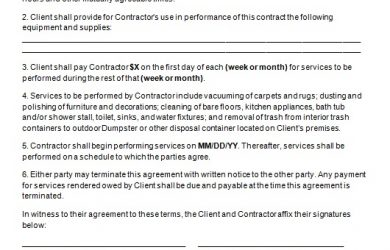 sample contract agreement cleaning contract template image