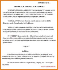 sample contractor agreement contractual agreement sample contract mining agreement
