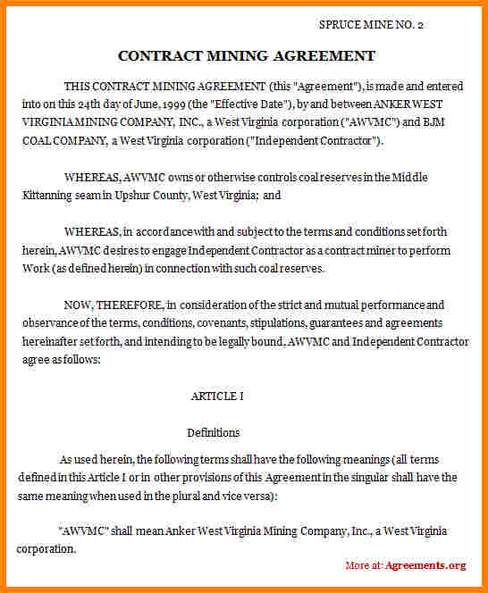 sample contractor agreement