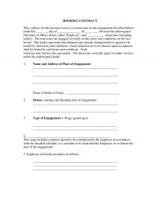 sample contracts for services booking contract