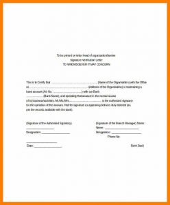 sample custody agreement confirmation letter to bank employee verification letter for bank