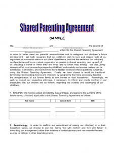 sample custody agreement shared parenting agreement d