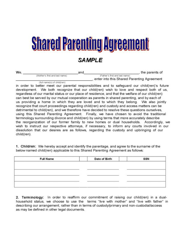 sample custody agreement