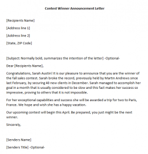 sample demand letter for payment contest winner announcement letter