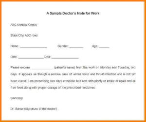 sample doctor note doctor note for work sample doctors note template for work