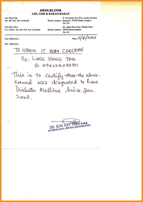 sample doctor note